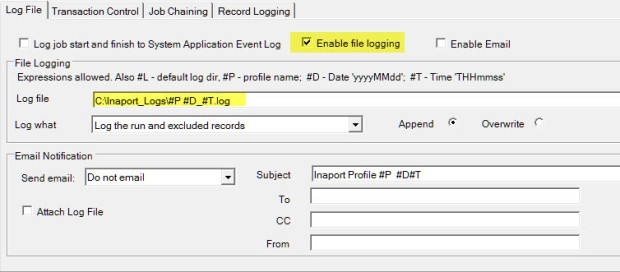 Inaport Logging setup